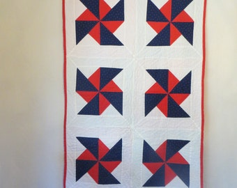 Hand-Quilted Pinwheel Quilt