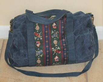 Vintage 1980 90s Stonewashed Denim Duffel Bag Golf Print a7897d4a6aabf