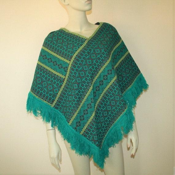 1960s Poncho Americana Knitting Mills Of Miami Boh