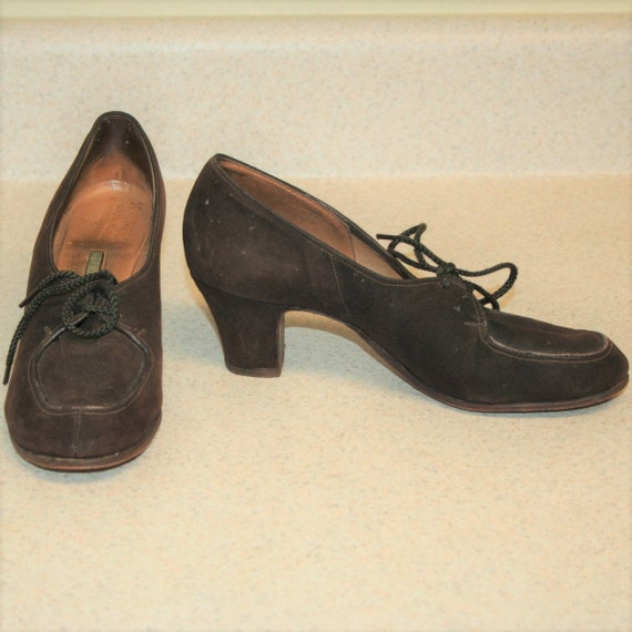 1940s Brown Suede Lace Up Oxford Heels Sommers At