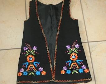 Vintage Black Wool Embroidered Vest