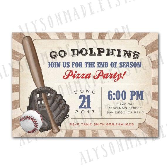 baseball sports team party invitation end of season party etsy