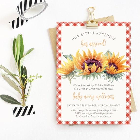 Sunflower Sunshine Meet And Greet Baby Shower Invitation Etsy