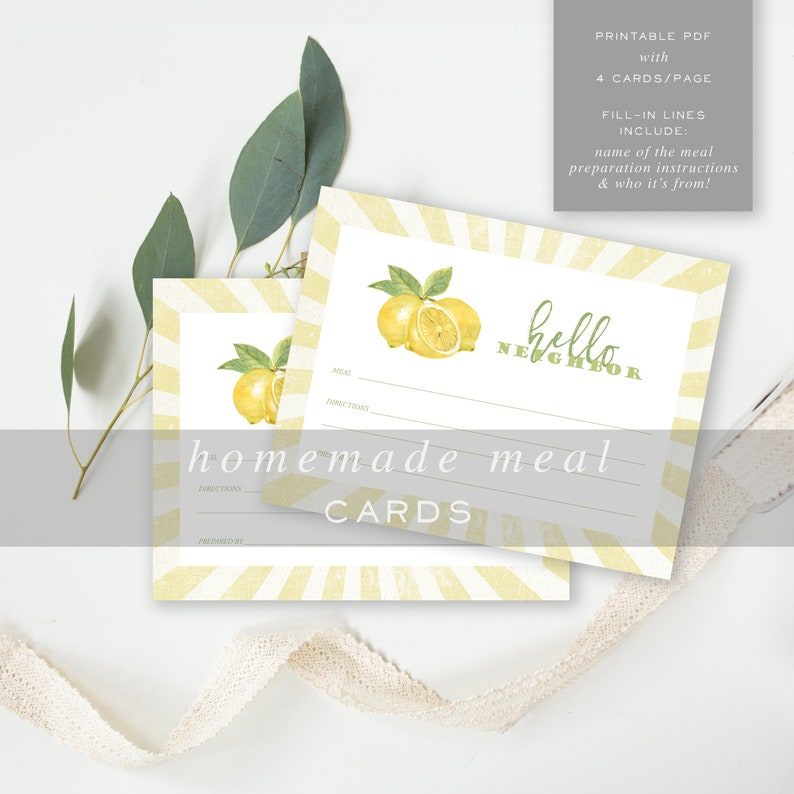 INSTANT DOWNLOAD printable lemon housewarming Meal Train Delivery Note Label Meal Delivery Card