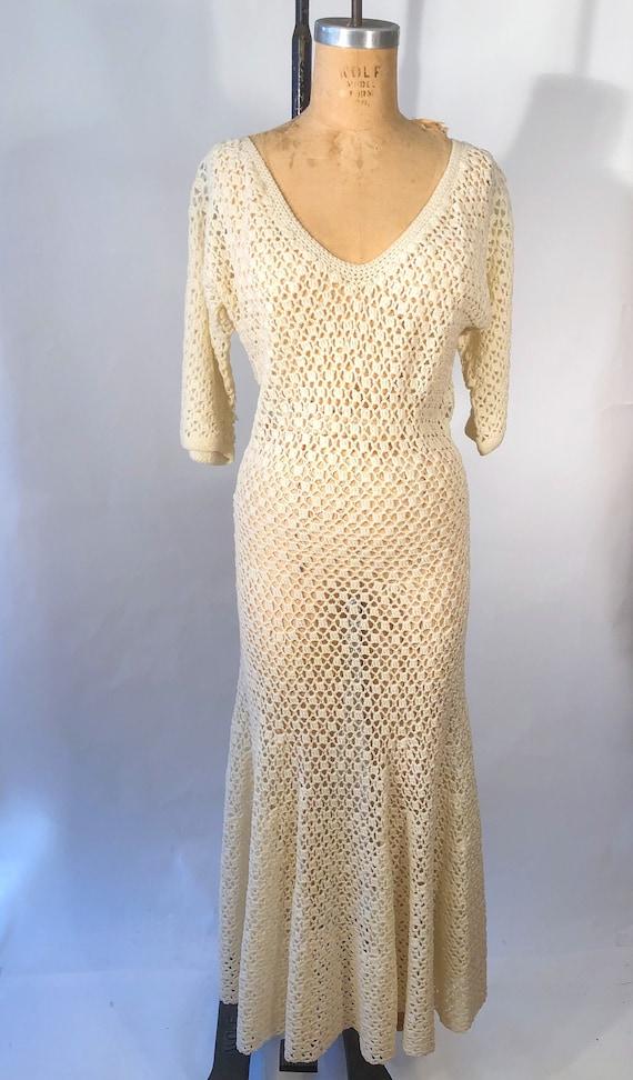 Vintage 1940s Hand Knit Crochet Maxi Dress