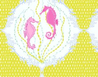 Andover - Full Moon Lagoon - Sea - Andover - Full Moon Lagoon - Sea Horses in Chartreuse  1 Yard Fabric 5998