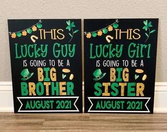 St. Patrick's Day Pregnancy Announcement, Big Sister/Brother Chalkboard Sign, Birth Announcement, St. Patrick's Day Baby Announcement, Baby