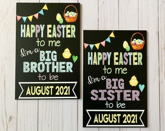 Easter Pregnancy Announcement Chalkboard, Easter Big Brother/Big Sister Reveal, Pregnancy Reveal, Easter Pregnancy Reveal, photo prop