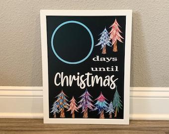 Christmas Countdown Chalkboard Sign, Christmas countdown sign, pink and blue Christmas sign, Christmas Chalkboard signs, holiday countdown