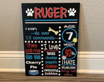 Pet Milestone Chalkboard Sign, Birthday sign or dog, custom printed pet milestone board, Custom sign, Printed Chalkboard sign, pet birthday