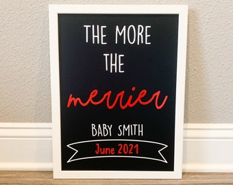 Christmas Pregnancy Announcement, The More the Merrier Chalkboard Sign, Birth Announcement, Christmas Baby Announcement, Baby on the way