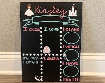 Princess Milestone Chalkboard, baby stat board, Baby milestone board, Monthly milestone sign, Princess theme, baby stat sign, photo prop