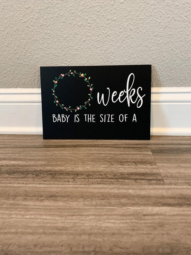 Pregnancy Stats Chalkboard Sign Pregnancy Photo Prop Floral image 1