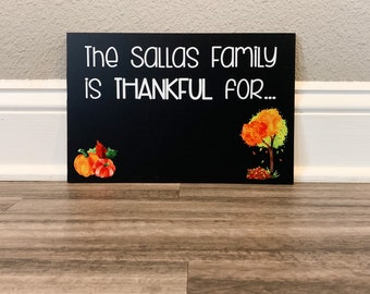 Thankful Chalkboard sign, Family thanksgiving sign, Thanksgiving photo prop, custom thanksgiving chalkboard sign, fall decor, chalkboard
