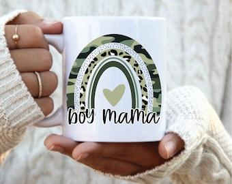 Boy Mama Rainbow Coffee Mug,  Boy Mom Mug,  Mothers Day gift, gift for boy mom, camo boy gift, camo boy mama, mug for mom, gift for mom