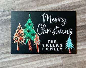 Custom Christmas Chalkboard Sign, Buffalo Plaid Christmas trees, Plaid Christmas decor, personalized Christmas sign, Family name door sign