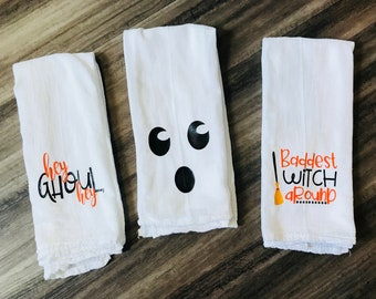 Fall Flour Sack Dish Towels, Halloween Dish Towels,  Halloween Tea towel, Funny Halloween Kitchen Decor