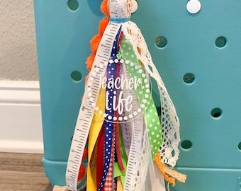Teacher Tote Bag Tassel, Teacher Life bag charm, backpack tag, acrylic bag tag, ribbon bag tag, bag tag personalized, beach bag tassels