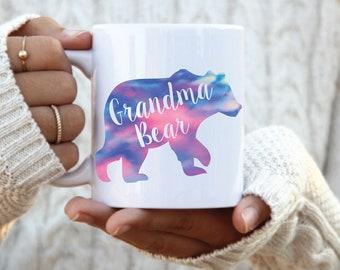 Grandma Bear Mug, Grandma Personalized Gift, Nana Coffee Mug, Pregnancy Announcement Mom Gift, New Grandma, Mothers day gift, tie dye bear