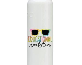 Educational Rockstar printed Water bottle, Teacher gift, teacher appreciation gift, teacher water bottle, rockstar teacher, sunglasses