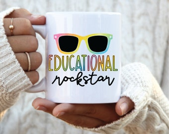 Educational Rockstar Coffee mug, Teacher Gift, Teacher Appreciation Gift, end of year gift, gift for teacher, teacher sunglasses, rockstar