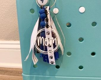 Personalized tassel keychain, Monogram bag charm, backpack tag, monogram bag tag, ribbon bag tag, bag tag personalized, beach bag tassel