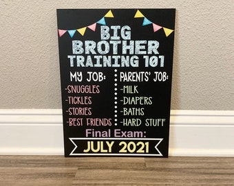 Big Brother or Big Sister in Training Photo Prop Chalkboard,  Pregnancy Announcement board, baby reveal board, big sister or big brother