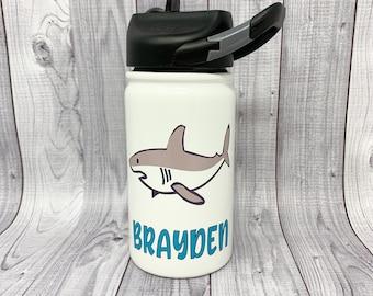Personalized Shark kids water bottle custom printed, drinkware for kids, 12 oz kids water bottle, cup for kids, water bottle, straw lid