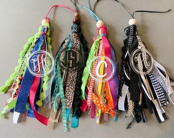 Tote Bag Tassel, Monogram bag charm, backpack tag, acrylic monogram bag tag, ribbon bag tag, bag tag personalized, beach bag tassels
