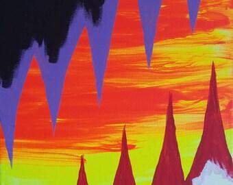 "Orange, Yellow, Purple, Black and White Original Abstract Acrylic Painting on Canvas ""Series 9 XIV"" Wall Art, Home Decor, Modern Art"