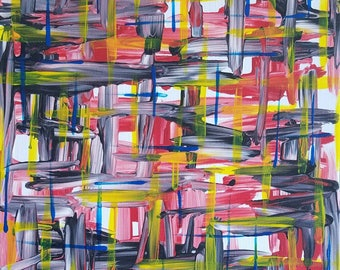 """Red, Blue, Yellow, White and Black Original Abstract Acrylic Painting on Canvas """"Series 9 XVIII"""" Wall Art, Home Decor, Modern Art, Artwork"""