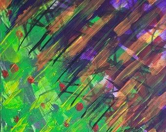 "Purple, Orange, Yellow, Green, Red Original Acrylic Abstract Painting on Canvas ""Series 5 XXI"" Wall Art, Modern Art, Contemporary Art"