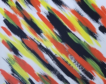 """White, Yellow, Orange and Black Original Acrylic Abstract Painting on Canvas """"Series 2 X"""" Wall Art, Home Decor, Unconventional, Modern Art"""