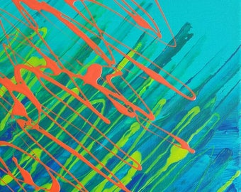 "Green, Orange, Blue and Yellow Original Abstract Acrylic Painting on Canvas ""Series 9 XV"" Wall Art, Home Decor, Interior Design, Modern Art"