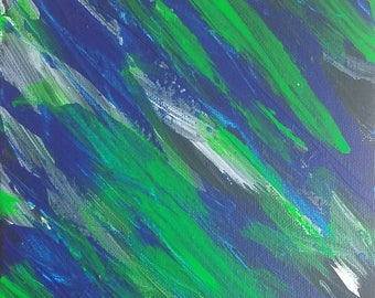 """Green and Blue Original Abstract Acrylic Painting on Canvas """"Series 3 LXXV"""" Wall Art, Home Decor, Interior Design, Modern Art, Contemporary"""