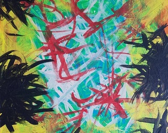 "Red, Tan, Blue, Black, Yellow, Orange Original Acrylic Abstract Painting on Canvas ""Series 2 XXXI"" 16x20"" Wall Art Decor"