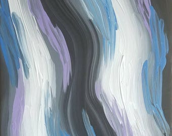 """Purple, Blue, Black and White Original Abstract Acrylic Painting on Canvas """"Series 9 XIII"""" Wall Art, Wall Hanging, Home Decor, Modern Art"""