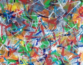 "Grey, Orange, Blue, Red, Yellow, Green Original Acrylic Abstract Painting on Canvas ""Series 2 CVI"" 16x20"" Wall Art Decor"