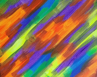 """Purple, Orange, Yellow and Blue Original Abstract Acrylic Painting on Canvas """"Series 9 XXXIII"""" Wall Art, Home Decor, Interior Design, Modern"""