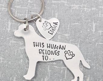 Labrador - This Human Belongs To.. Personalised Dog Keyring - Dog Lover - Dog Mum - Gift