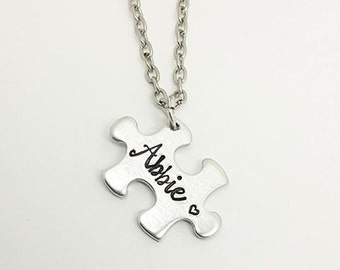 Puzzle Piece Name Necklace - Autism Awareness Necklace - Personalised Name Gift - Name Necklace - Gift for Her - Family Gift