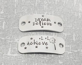 Trainer Tags - Dream Believe Achieve  -  Fitness Gift - Runner Gift -  Dandelion - Marathon Personalised Running - Gym Gift