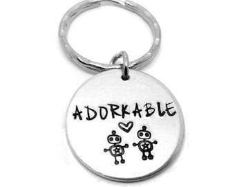 FIVER FRIDAY Adorkable Geek/Nerd Robot -  Hand Stamped Keyring - Aluminium