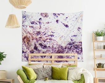 Purple wall hanging, Abstract art tapestry, Blackberry microscope art wall decor, Housewarming gift, Photomicrography fabric wall art. MG062