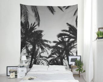 Palm Leaf Tapestry, Summer Wall Decor, Tropical Decorations, Tropical Tapestries, Palm Trees Photo, Black And White, Dorm Tapestries. MG043