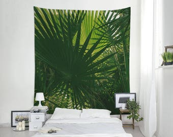 Green Tapestry, Tropical Wall Art, Wall Hangings, Palm Leaves, Green Decoration, Nature Photography. MG056