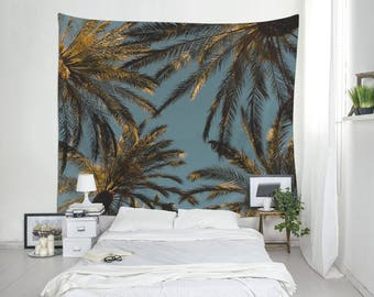 Beach tapestry, Palm Tree wall hanging, Tropical tapestry, Home gifts, Palm leaf art, Tropical Decor, Large wall tapestry, Polyester. MG042