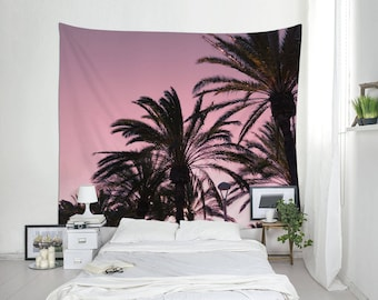 Pink Tapestry, Tropical Decoration, Tropical Sunset, Palm Trees, Maritime Photo, Wall Decorating. MG040