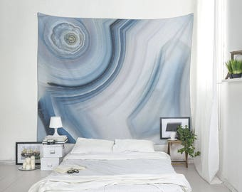 Wall tapestry of Brazilian agate, Blue wall hanging, Abstract, Agate tapestry, Dorm wall art, Living room decor, Boho large fabric. MW103