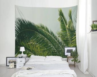 Summer Tapestry | Tropical Decoration | Palm Tree Photo | Wall Hanging | Dorm Decor | Polyester Fabric | MG054